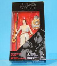 "RARE Star Wars Black 6"" TFA Figure # 02 E7 REY JAKKU / BB-8 Variant Lightsaber"