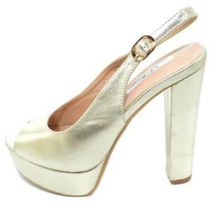 Sandalo donna alto oro satinato allacciatura chanel open toe con plateau e tacco