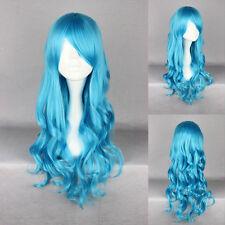 Gewellte lange Perücken & Haarteile mit klassischer Kappe in Blau Echthaar-Kunst