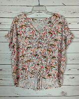 Jane and Delancey Anthropologie Women's L Large Floral Short Sleeve Top Blouse