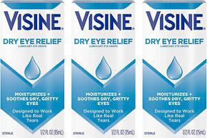 Visine Dry Eye Relief Lubricating Eye Drops Dry Eyes 0.5 oz EXP 08/2022 -3 PACK