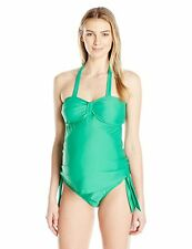 MATERNAL AMERICA HALTER CARRIE TANKINI SWIM TOP GREEN SMALL NEW!! $109