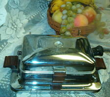 Vintage Art Deco Chrome and wood handle waffle iron