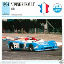 RENAULT ALPINE  A441  1974 CAR VOITURE FRANCE CARTE CARD FICHE