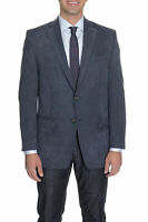 Mens 40R Ralph Lauren Classic Fit Navy Blue Textured Two Button Blazer Sportcoat