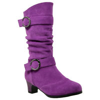 Kids Mid Calf Boots Double Buckle Zip Close High Heel Shoes Gray Purple