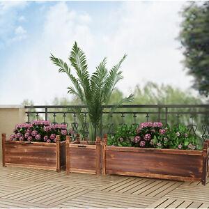 Rectangular Raised Garden Bed Kit Indoor Outdoor Wood Planter Grow Box Vegetable