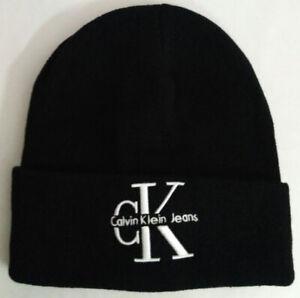 Calvin Klein Jeans CK Women Men Beanie Hat Unisex Packable Winter Cap Black