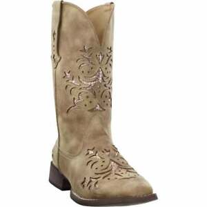 Roper Kennedy Glitter Square Toe   Womens  Western Cowboy Boots   Mid Calf Low