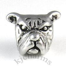 Bulldog Silver European Spacer Charm Bead For Bracelet Necklace EB55