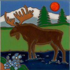 Hand Painted Ceramic Art Tile Moose wildlife painting, hot plate, installation