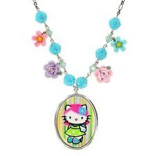 "Tarina Tarantino Kitty Pink Head Flower Charm Necklace ""Aqua"" Made in California"