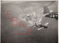 WWII PHOTOGRAPH 11X14 US FIGHTER PLANES AERIAL OVER IWO JIMA MT SURIBACHI LOOK