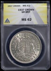 1937 Great Britain UK Silver Crown George VI ANACS MS 62 BU Uncirculated Unicorn