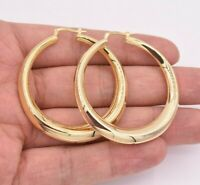 "2"" 50mm Graduated Shiny Round Oval Hoop Earrings 14K Yellow Gold Clad Silver 925"