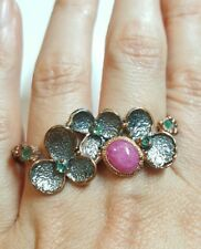 Double finger Ruby Emerald flower nature gemstone ring size 8.5 925 silver