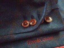 36R BESPOKE Red Blue Check Tweed Plaid Surgeon MTM  2-vents Blazer Coat Jacket
