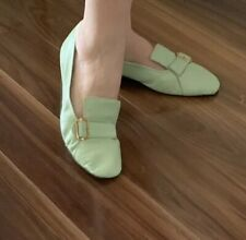 Square Toe 1960s Flat Loafer Mint Green Modern Ladies size 10 Men's Size 9
