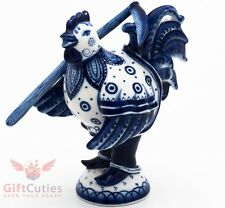 Gzhel porcelain Figurine Russian folk Reaper Rooster with Scythe Гжель