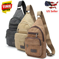 Men Military Canvas Messenger Shoulder Sling Backpack Chest Bag Crossbody Purse