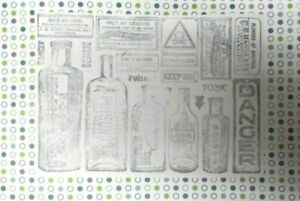 Halloween Apothecary Vintage poison bottles collage rubber stamp unmounted art