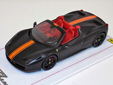 1/18 BBR Ferrari 458 Spider Matt Black Orange Stripe Black Wheels Alcantara Base