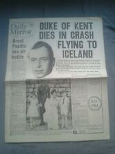 Daily Mirror NEWSPAPER-WW2- Aug 26th 1942- Duke of Kent dies in plane crash.