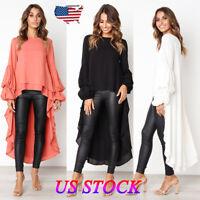 Fashion Women's Loose Long Sleeve Chiffon Casual Blouse Shirt Tops Blouse Dress
