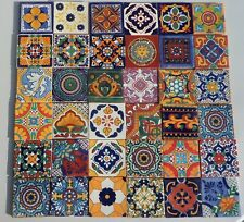 """40~Talavera Mexican pottery 4"""" Tile assorted geometric patterns hand painted"""