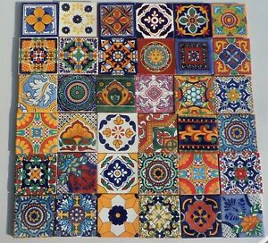 """10000~Talavera Mexican pottery 4"""" Tile assorted geometric solids astronomy MORE"""