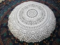 "32"" Indian White Ombre Mandala Floor Pillow Meditation Round Cushion Cover Sham"