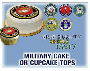 Military Cake topper Edible picture sugar navy army marine corps air force paper
