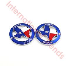 2X TEXAS Masonic Car Auto Emblem Free Masonry Mason AF&AM Badge Sticker