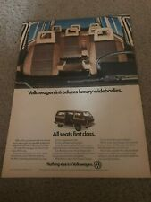 """Vintage 1982 VOLKSWAGEN VW VANAGON GL BUS CAR Print Ad """"FIRST CLASS"""" 1980s RARE"""
