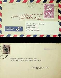 PERU 1962 FLOWER + 12c 2v ON 2 COVERS TO USA WITH CACHET