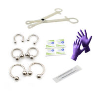 12g Piercing Kit 14 pcs Disposable Forceps,Gloves, Alcohol Pads, Needles,jewelry