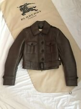 Burberry Brown Lambskin Leather Aviator Moto Motorcycle Jacket Structured