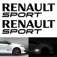 2 Stickers Renault Sport Noir Réfléchissant - RS GT Clio Mégane Twingo Decals