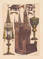 Deutsche Mittelalter Monstranz LITHOGRAPHIE von 1883 Messpult Kelch