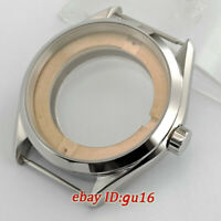 Silver Watch Case 41mm Sapphire Fit ETA 2836,Mingzhu 2813/3804,Miyota 82 series