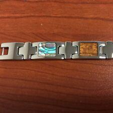 "Stainless Steel Inlaid  Koa Wood/Abalone Shell Bracelet 8"" ( free gift box)"