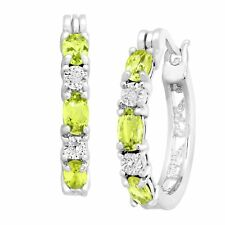 1 5/8 ct Natural Peridot Hoop Earrings with Diamonds Platinum over Brass, .875""