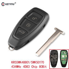 New Smart Remote Key Fob 3 Buttons 434MHz Fit For Ford Focus Fiesta Kuga
