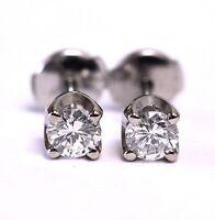 GIA New 14k white gold .67ct VS2 G certified round diamond earrings 1.5g estate