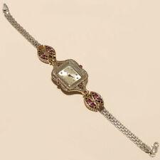 Sterling Silver Women Fine Jewelry Gift Natural Ruby White Topaz Wrist Watch 925