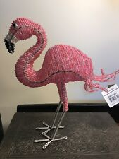 "NWT Pink Flamingo Beaded Sculpture  Beadworx by Grass Roots 10""x 8"""