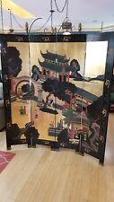 Vintage Oriental Black 4 Panel Screen Room Divider W/Women. READ FULL DESCRIPT..