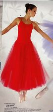 NWT Red Ballet Ballerina Dance Costume attached Romantic Skirt ch/ladies 3ply