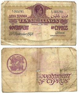 10 Shillings Cyprus 1948 🇨🇾 Banknote // King George VI  🇬🇧SN:F/7 365781 # 23