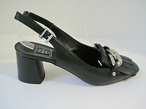 THE SHOE BOX Black Leather Ankle Strap Heels Silver Tone Front Buckle Size 37